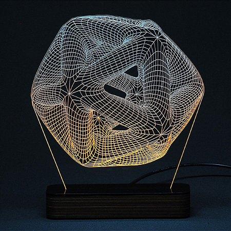Luminária Acrílico e Led Ilusão 3D
