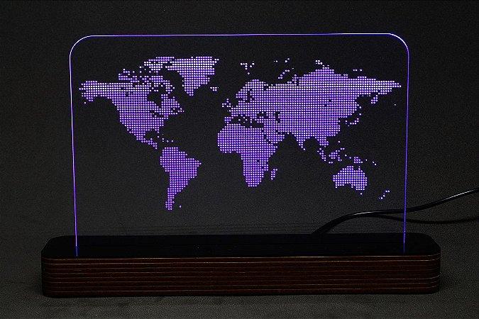 Luminária Acrílico e Led Mapa Mundi