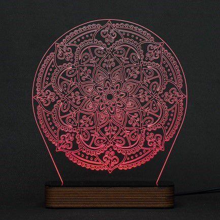 Luminária Acrílico e Led Mandala modelo A