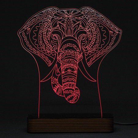 Luminária Acrílico e Led Elefante Indiano