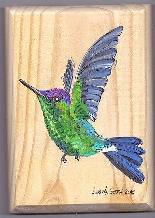 Arte em Madeira - Beija-flor-de-fronte-violeta