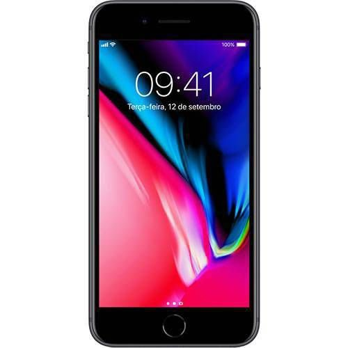 "iPhone 8 Plus Cinza Espacial 256GB Tela 5.5"" IOS 11 4G Wi-Fi Câmera 12MP - Apple"