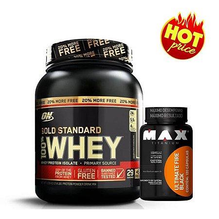 PROMO Whey Gold Standard ON 1,1kg Optimum Nutrition + Termogênico Fire Black 120caps