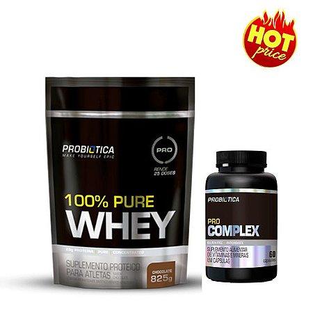 Kit Whey 100% Pure 825g + Multivitaminico Complex 60 cápsulas -  Probiotica