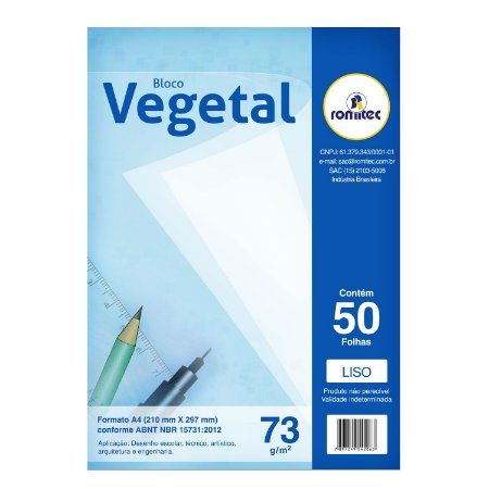 BLOCO VEGETAL A4 LISO 73G 297X210MM 50F