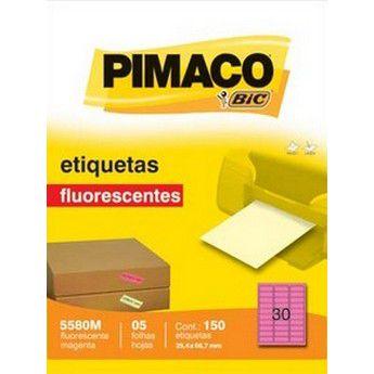 ETIQUETA LASER FLOURESCENTE MAGENTA PIMACO 5580M - COM 5 FOLHAS (150 ETIQUETAS)