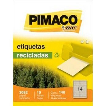 ETIQUETA LASER RECICLADA PIMACO 3082 - COM 10 FOLHAS (140 ETIQUETAS)