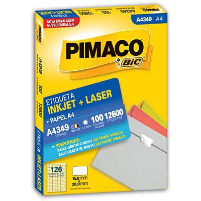 ETIQUETA LASER PIMACO A4349 - COM 100 FOLHAS (12.600 ETIQUETAS)