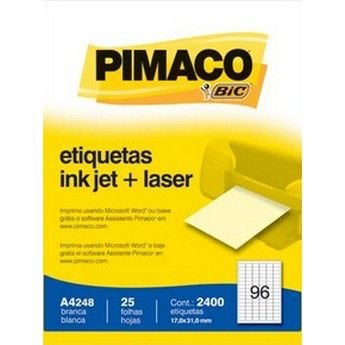 ETIQUETA LASER + INK JET PIMACO A4248 - COM 25 FOLHAS (2.400 ETIQUETAS)