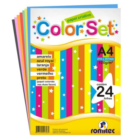PAPEL CRIATIVO COLOR SET A4 120G C/24