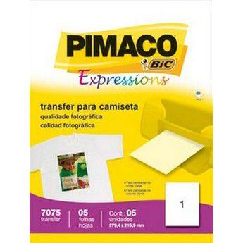 PAPEL TRANSFER INK-JET PIMACO 7075 - COM 5 FOLHAS