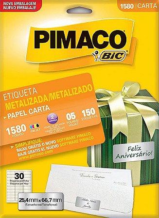 ETIQUETA LASER C/05 25,4X66,7 METAL PRATA1580