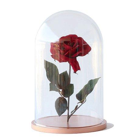 Redoma de vidro lisa com rosa - base de MDF cobre