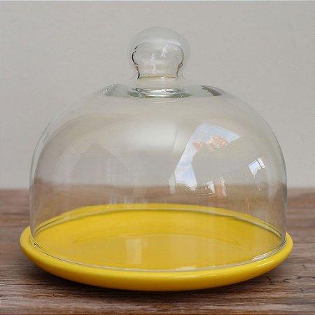 Redoma baixa com base de louça - amarela