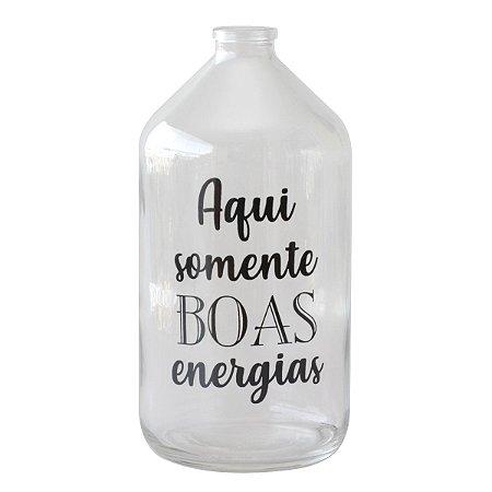 Vaso garrafa de vidro - Aqui somente boas energias