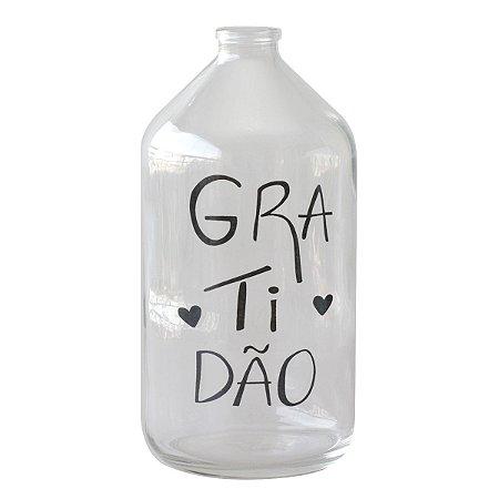 Vaso garrafa de vidro - Gratidão