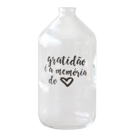 Vaso garrafa de vidro - Gratidão é a memória do coração