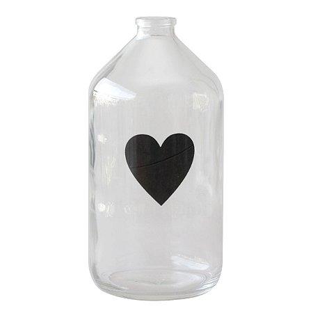 Vaso garrafa de vidro - Coração