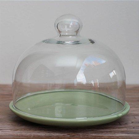 Redoma baixa com base de louça - verde-oliva