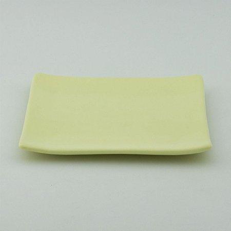 Prato oriental quadrado amarelo candy