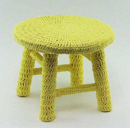 Banco de Crochê Pequeno - Amarelo