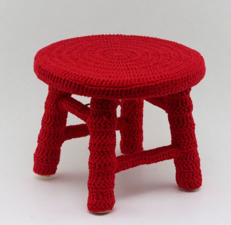Banco de Crochê Pequeno - Vermelho