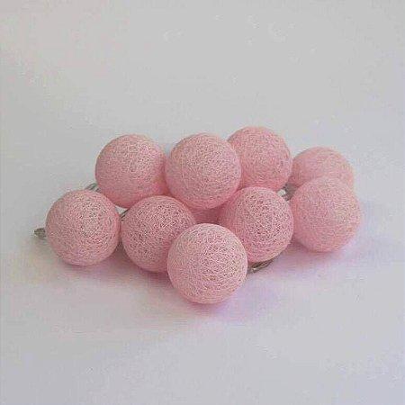 Cordão de Luz Mini Bolinhas - Rosa (A pilha)