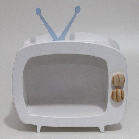 TV em Mdf - Branca com antena azul