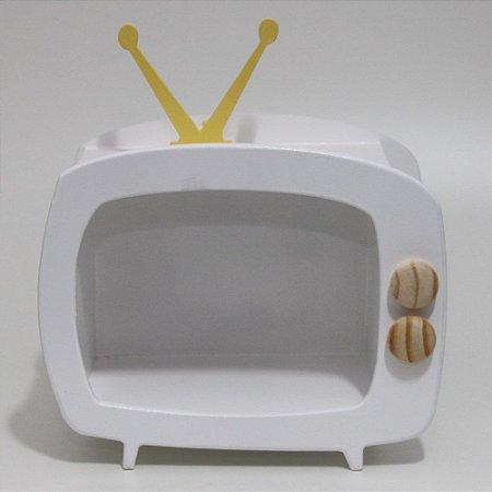 TV em Mdf - Branca com antena amarela