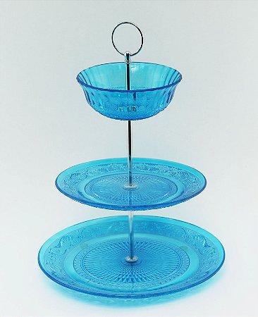 Suporte para doces de vidro - 3 andares azul
