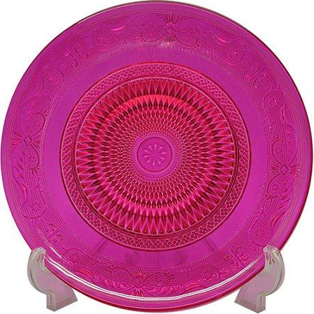 Prato de vidro - pink