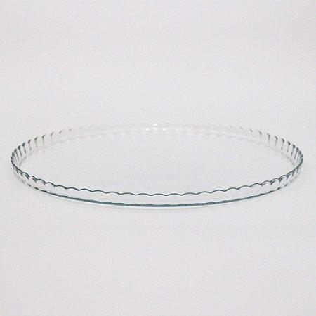 Prato de vidro com borda ondulada