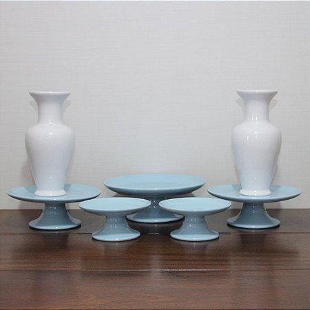 Kit branco e azul - 7 peças