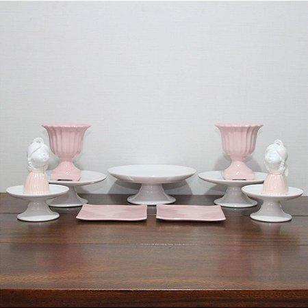 Kit branco e rosa