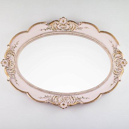 Bandeja Oval - Rosa Candy e Dourado
