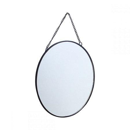 Espelho Redondo Suspenso com Alça Corrente - 20cm