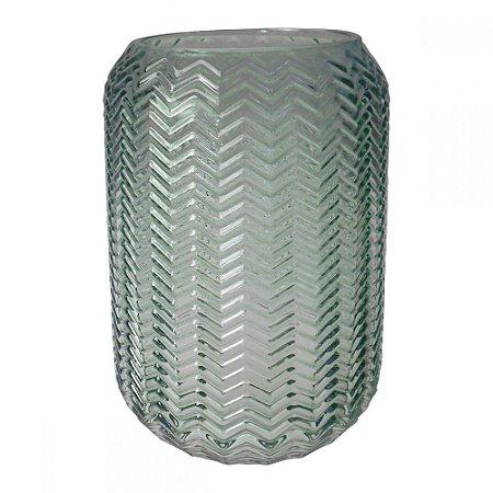 Vaso de Vidro Chevron I - Verde