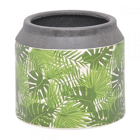 Vaso Cerâmica Folhas Verdes