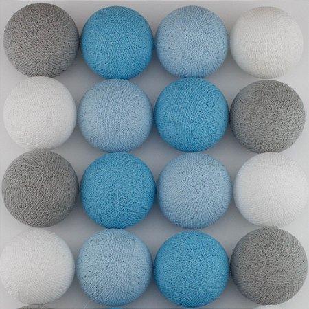 Cordão de Luz LED - Tons de Azul, Cinza e Branco (A pilha)