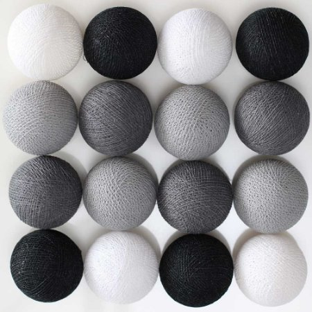 Cordão de Luz LED - Preto, Cinza e Branco (A pilha)