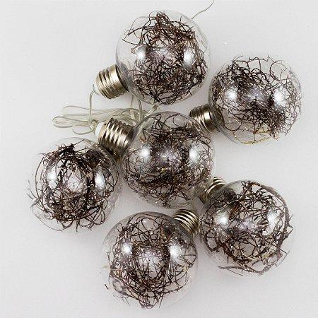 Cordão de Luz Bolas de Natal Transparentes (A pilha)