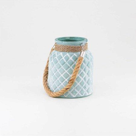 Porta-vela Verde Água em Vidro