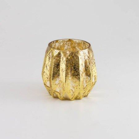 Porta-vela Dourado em Vidro