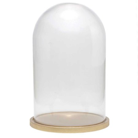 Redoma de vidro lisa com base de MDF dourada - média