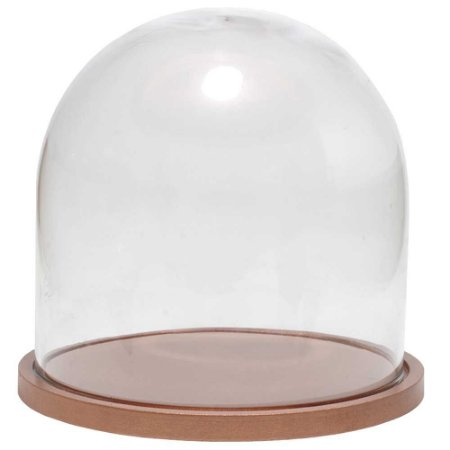 Redoma de vidro lisa com base de MDF cobre - pequena