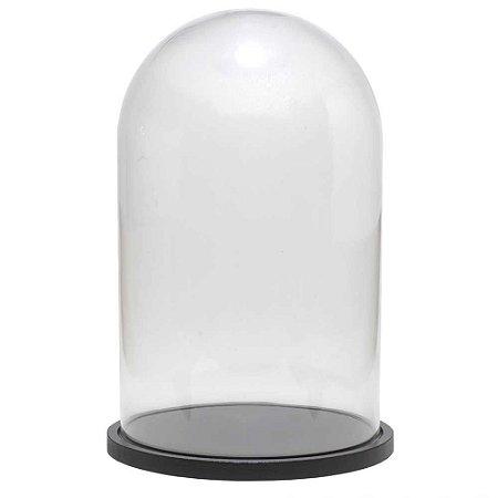Redoma de vidro lisa com base de MDF preta - média