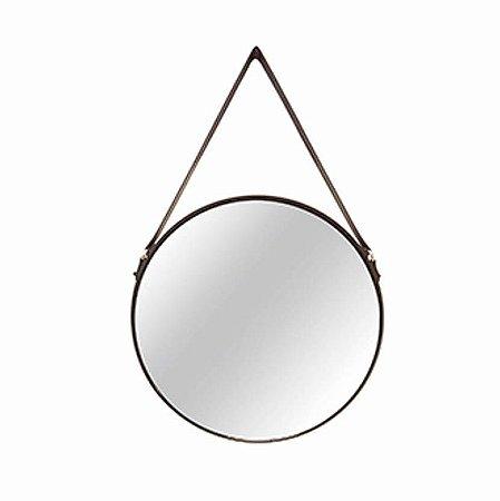 Espelho Redondo Suspenso com Alça de Couro - 36cm