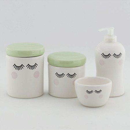 Kit Higiene Verde e Branco - Cílios