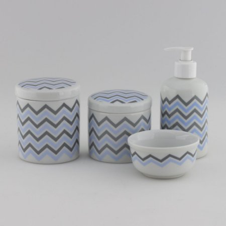 Kit Higiene Chevron Azul e Cinza