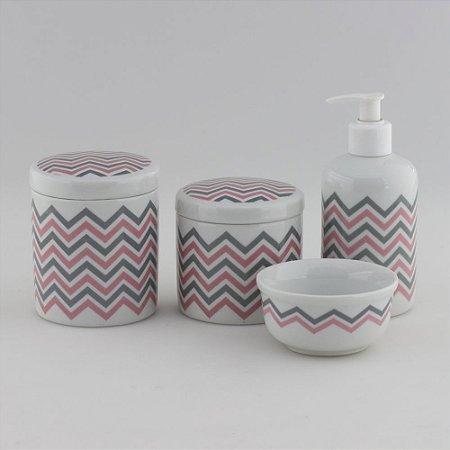 Kit Higiene Chevron Rosa e Cinza